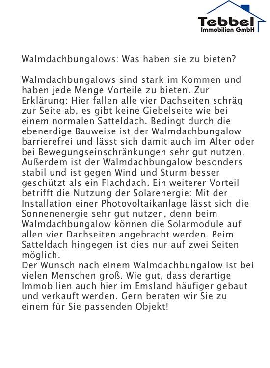 Walmdachbungalows im Emsland